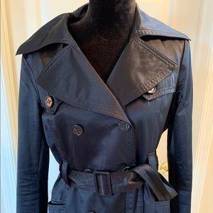 Black Bebe Satin feeling French coat! Super soft.